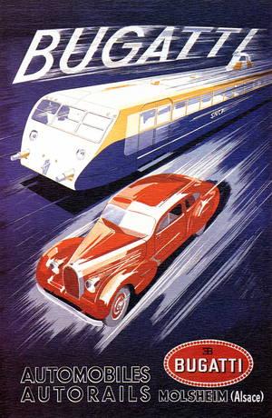 Reproduktion einer originalen Bugatti Werbeanzeige